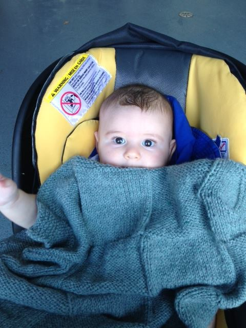 Finished blanket, being enjoyed by its adorable new owner, TK.