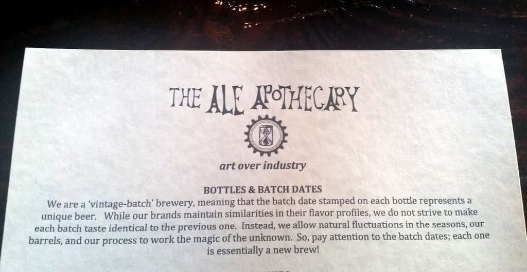 The Ale Apothecary tasting room - batch dates