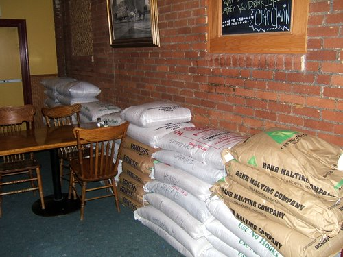Bags of grain at Barley Brown's