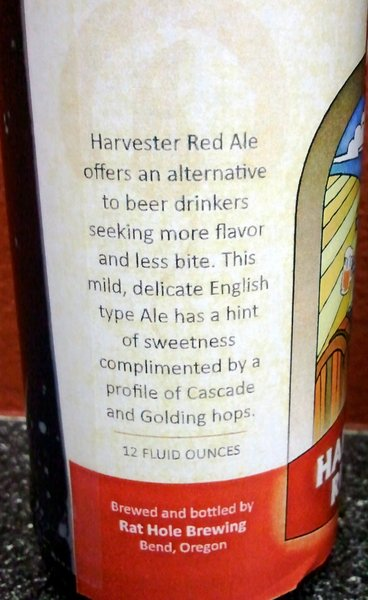 Rat Hole Brewing Harvester Red Ale label