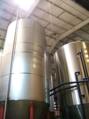 Brewing tanks in the Rogue Brewery
