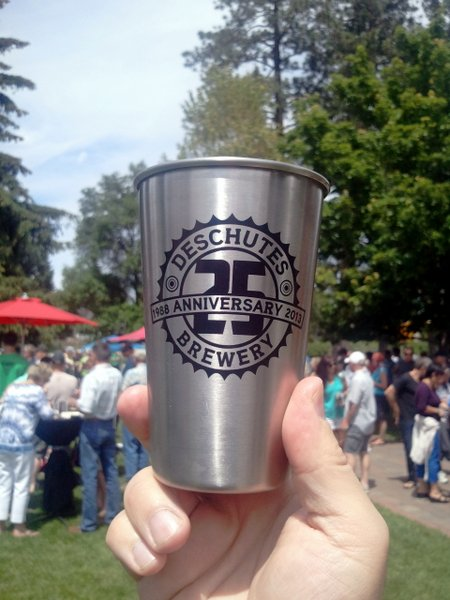 Deschutes Brewery 25th anniversary steel pint glass
