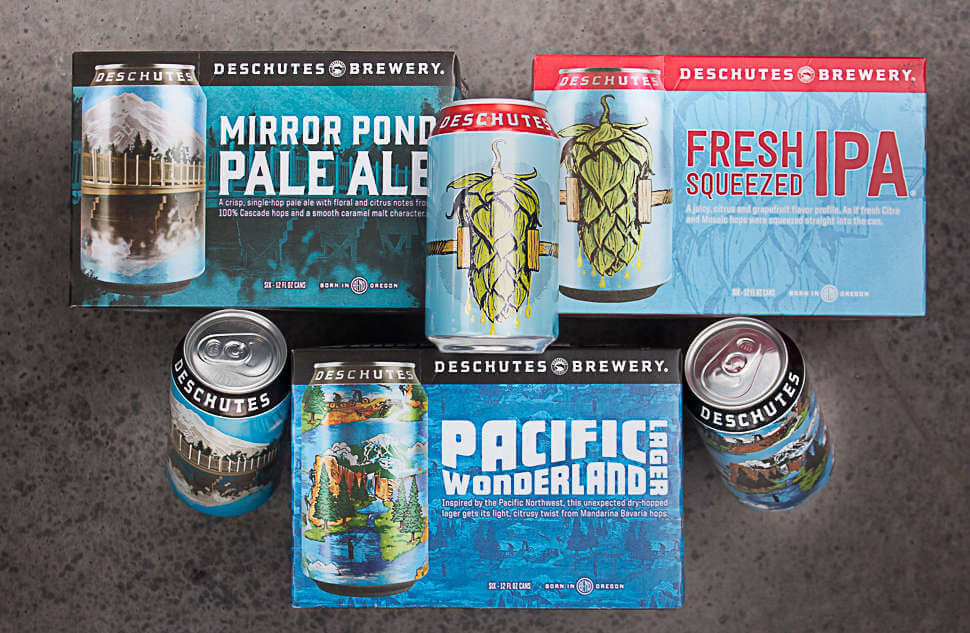 Deschutes Brewery cans and packaging
