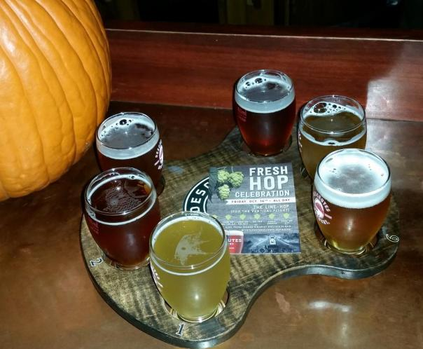 Deschutes Fresh Hop beer flight