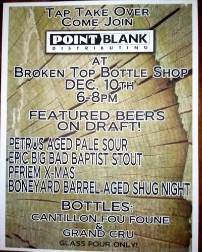 Point Blank Tap Takeover at Broken Top Bottle Shop