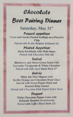 Chocolate Beer Pairing Dinner menu