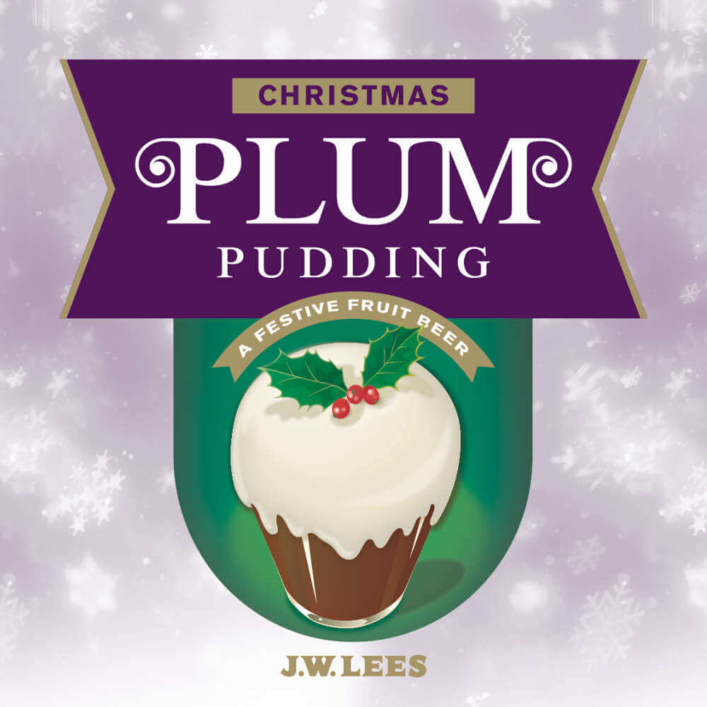 JW Lees Christmas Plum Pudding pump clip label