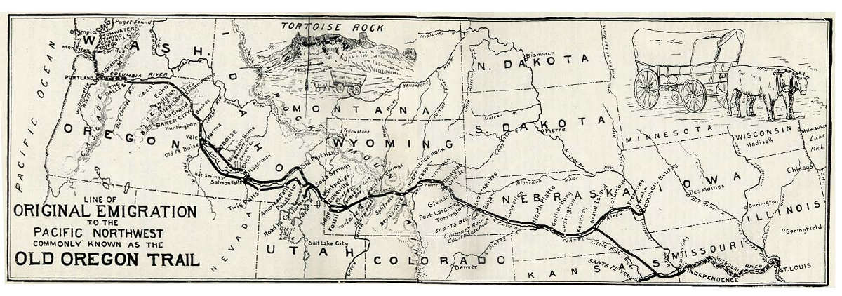 Historic map of the Oregon Trail The Brew Site