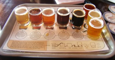 Taster tray of beers at the Pelican Brewery