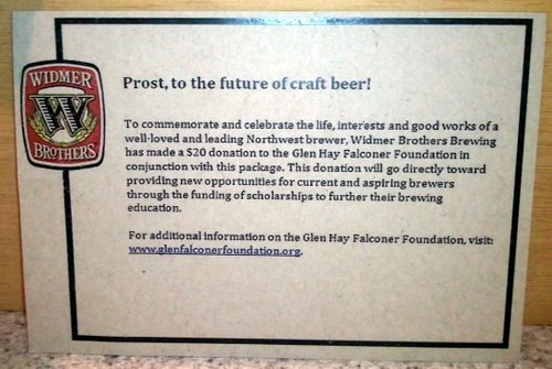 Widmer's donation to the Glen Hay Falconer Foundation