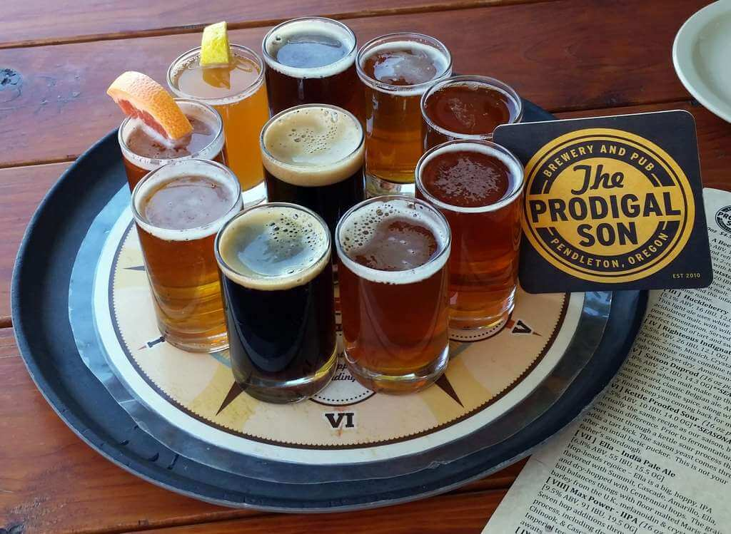 Sampler tray at the Prodigal Son Brewery