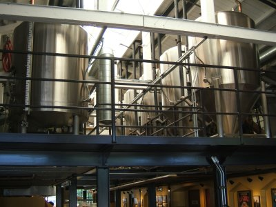 Overhead tanks at Standing Stone Brewing