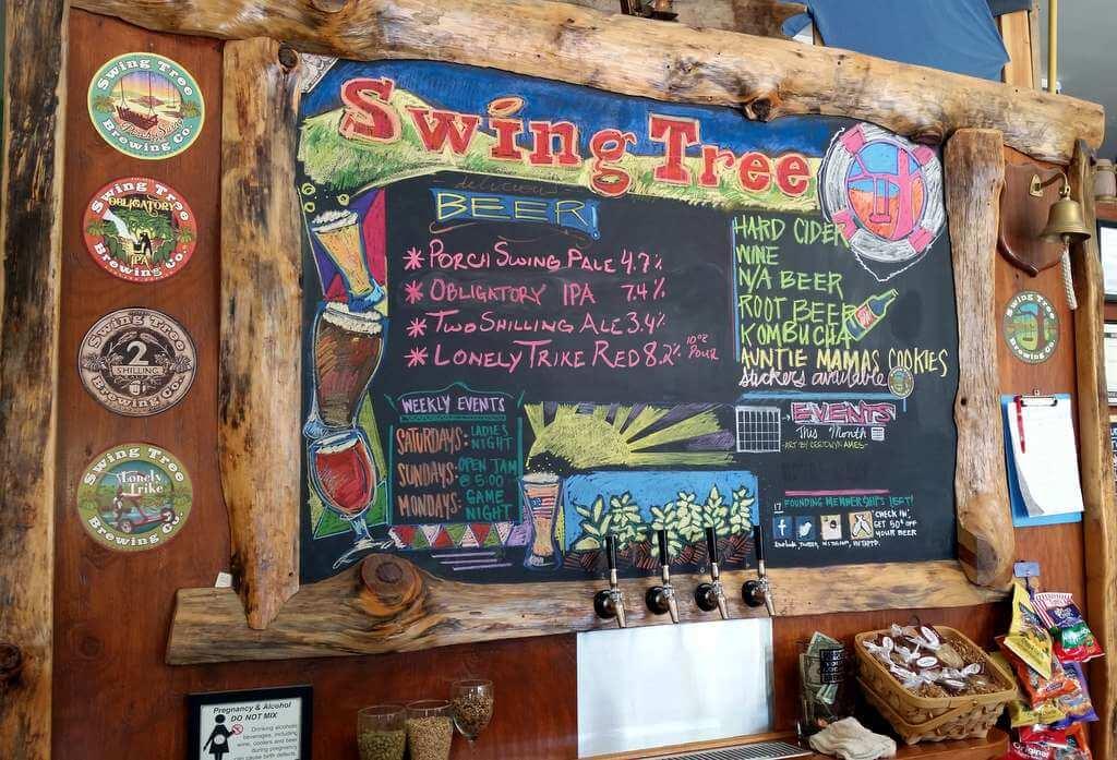 Swing Tree Brewing tap room menu, July 2015
