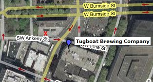 Google Maps hybrid view of the Tugboat Brewery in Portland, Oregon