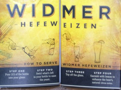Widmer Hefeweizen carrier, with pour directions