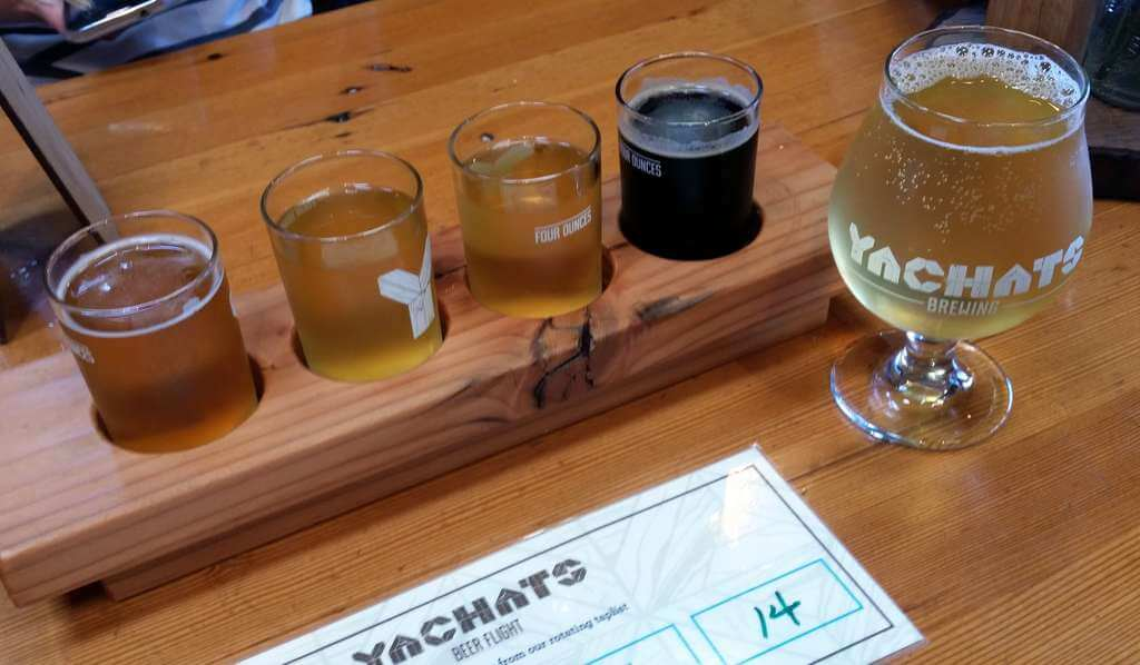 Yachats Brewing beer sample flight