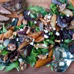 Harvest Pear, Beetroot and Walnut Salad with BBQ Lamb