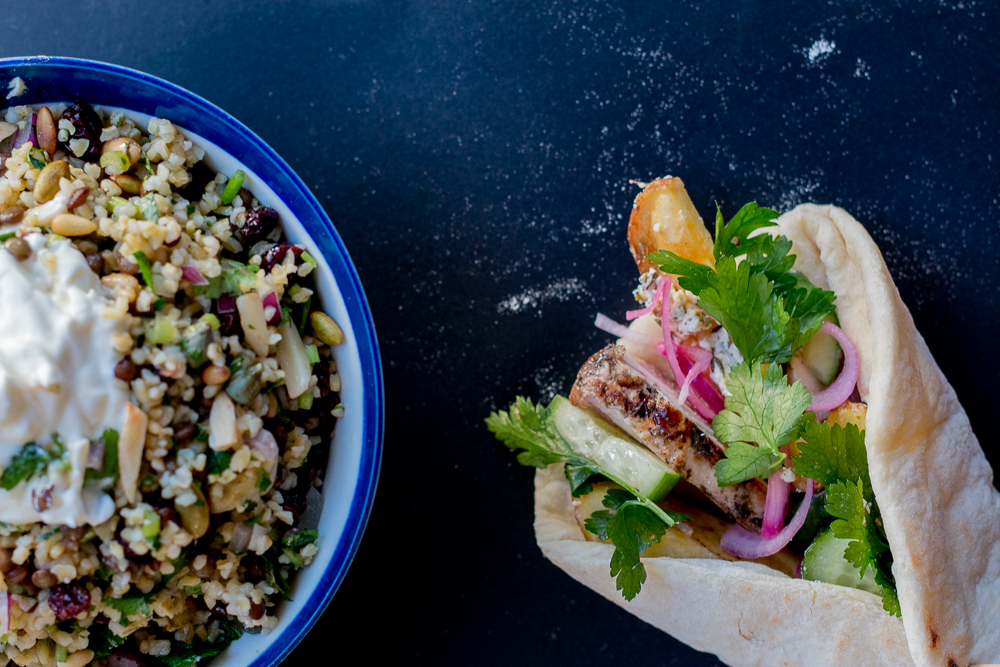 Greek Chicken Souvlaki Cypriot Grain Salad The Brick Kitchen