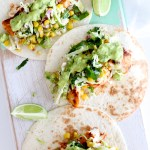 Spicy Fish Tacos with Grilled Corn Slaw & Avocado-Coriander-Lime Sauce