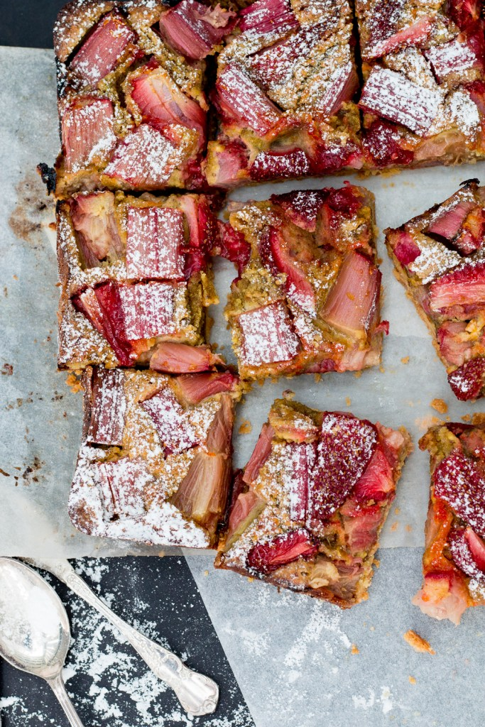 Strawberry Rhubarb Pistachio Bars - The Brick Kitchen