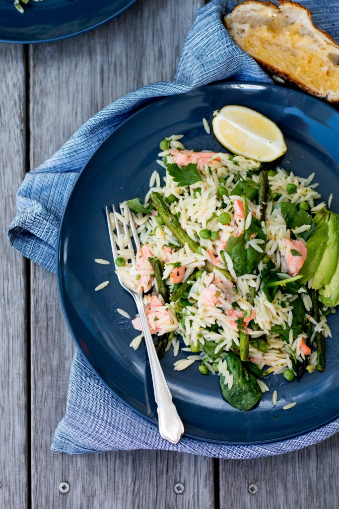 Salmon, Asparagus and Risoni Salad with Avocado - The Brick Kitchen