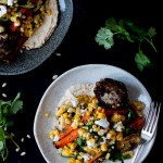Ottolenghi's Lamb Kofta with Corn, Zucchini & Roasted Carrot Salad and Homemade Hummus