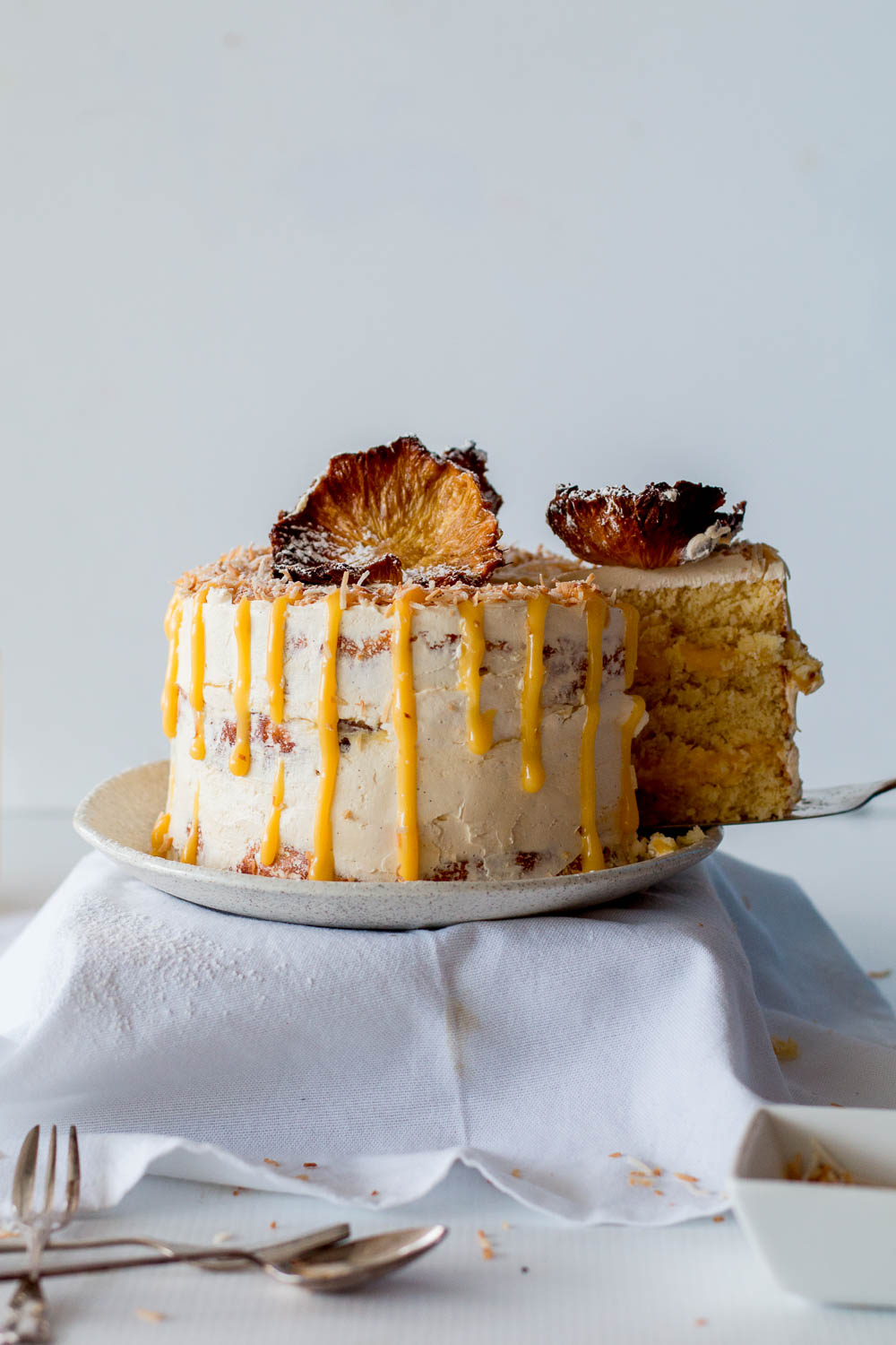 Gluten Free Pineapple Coconut Cake With Passionfruit Curd
