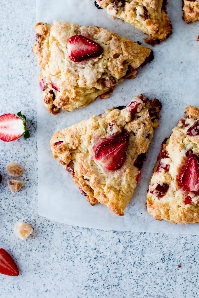 Rhubarb, Strawberry and Ginger Buttermilk Scones - The Brick Kitchen