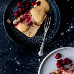 Rhubarb, Raspberry & Dark Chocolate Bread & Butter Pudding Cake