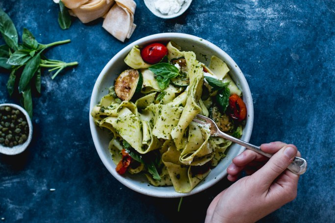 Homemade Pappardelle with Pesto, Zucchini & Goat's Cheese - The Brick Kitchen