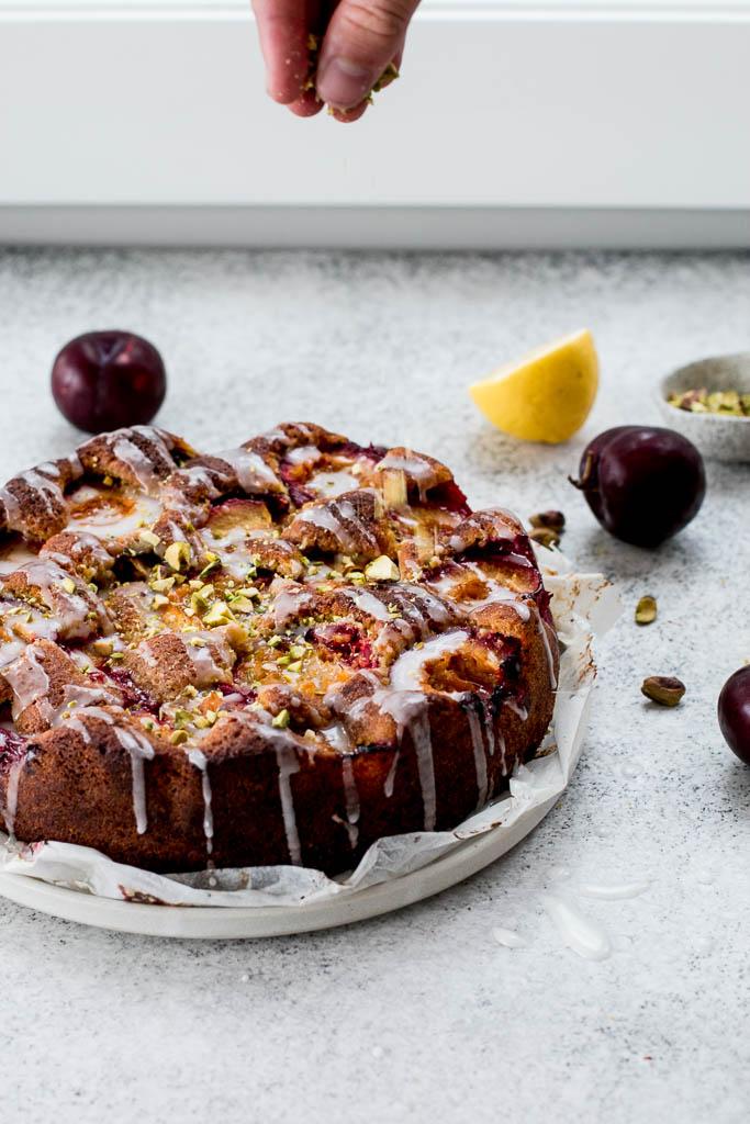 Plum Pistachio Lemon Cake - The Brick Kitchen