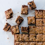 Brown Butter, Miso & Walnut Dark Chocolate Blondies