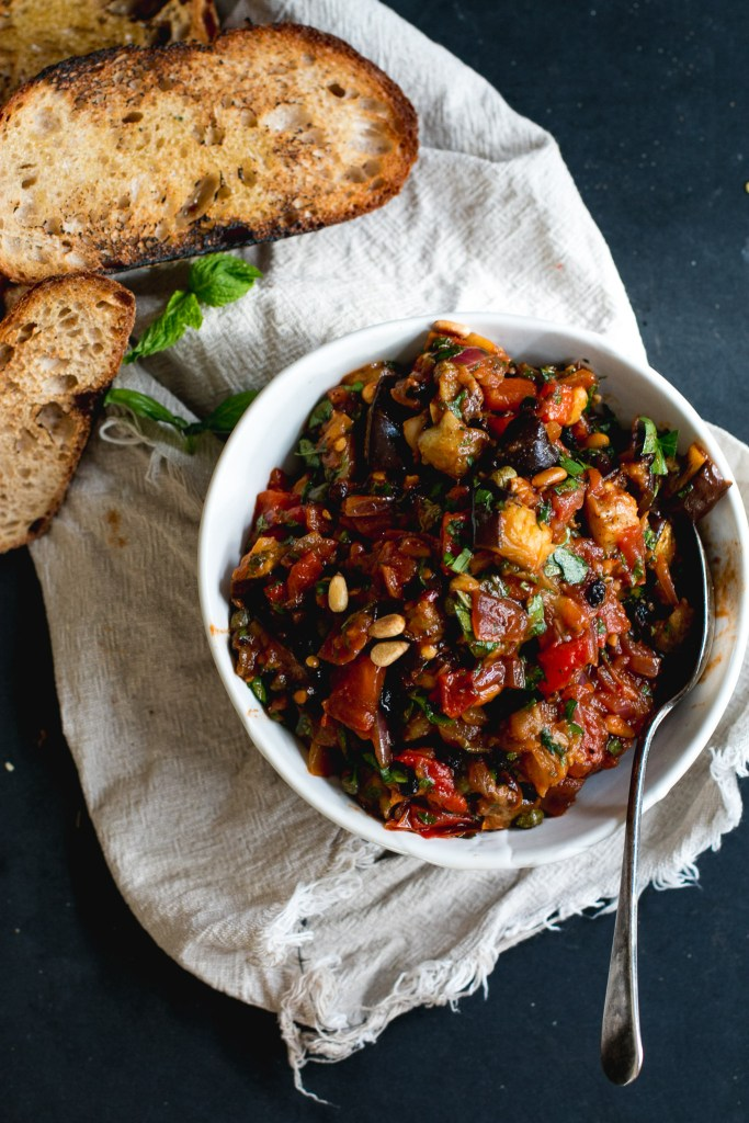Eggplant Caponata & Labneh Bruschetta - The Brick Kitchen