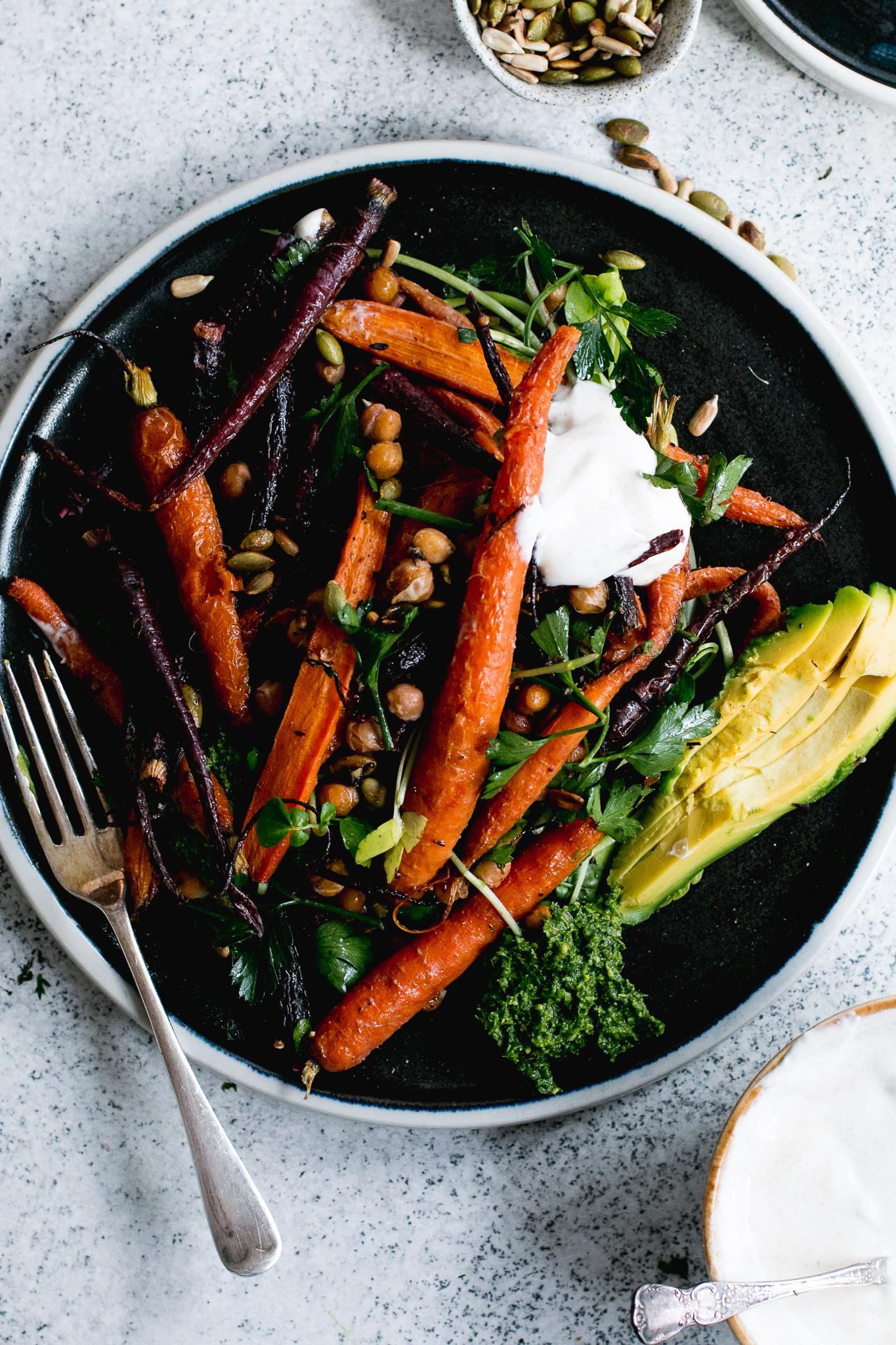 roast carrot chickpea avocado salad with cumin honey yogurt
