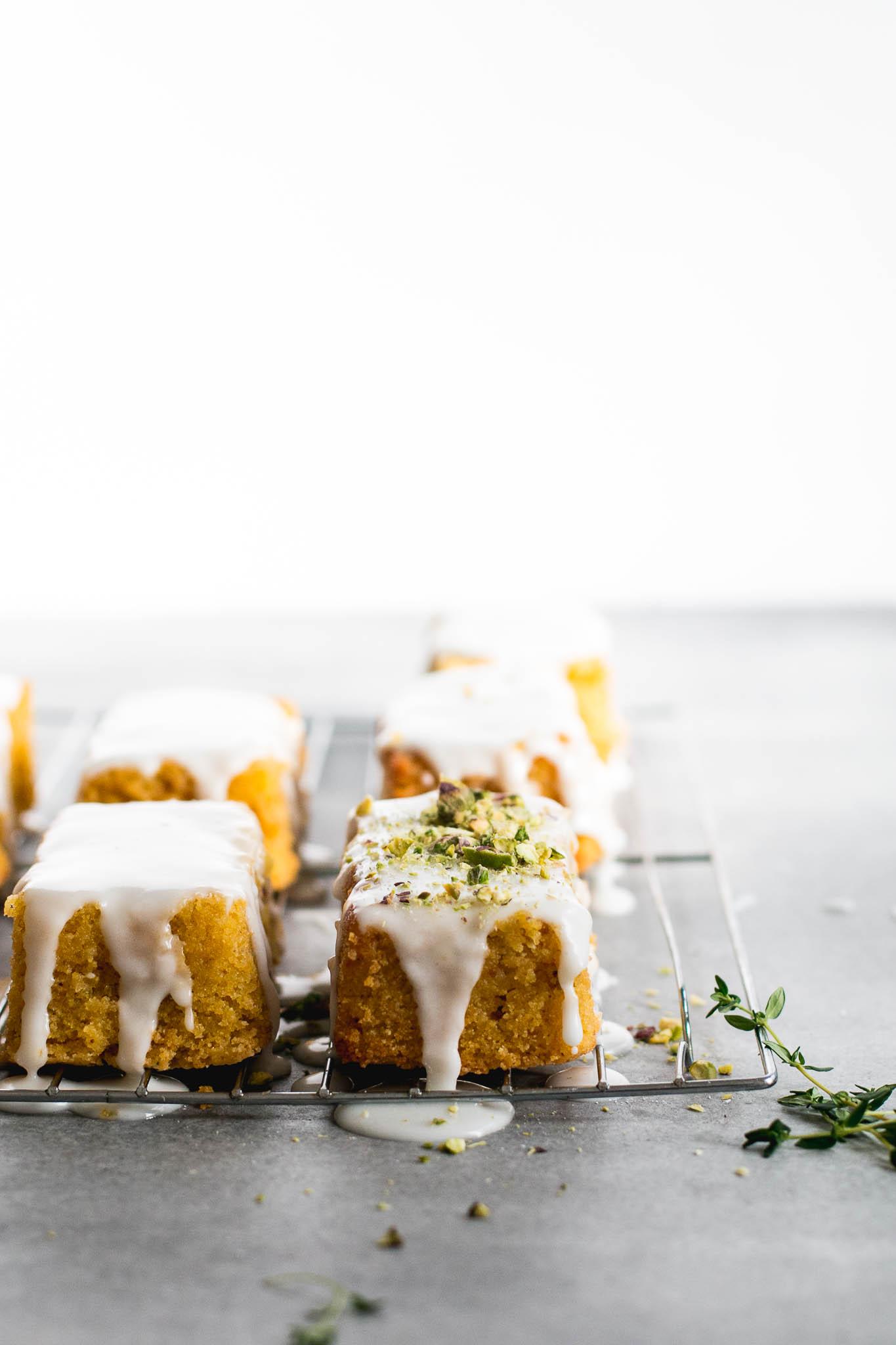 Lemon Pistachio Polenta Cake