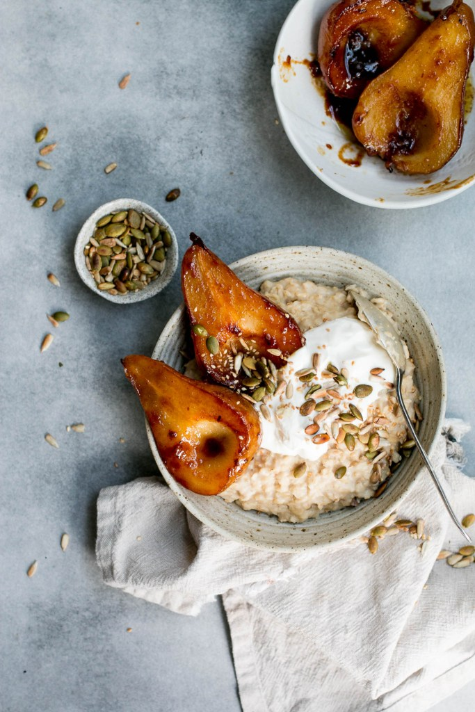 Miso Caramel Pear Porridge - The Brick Kitchen