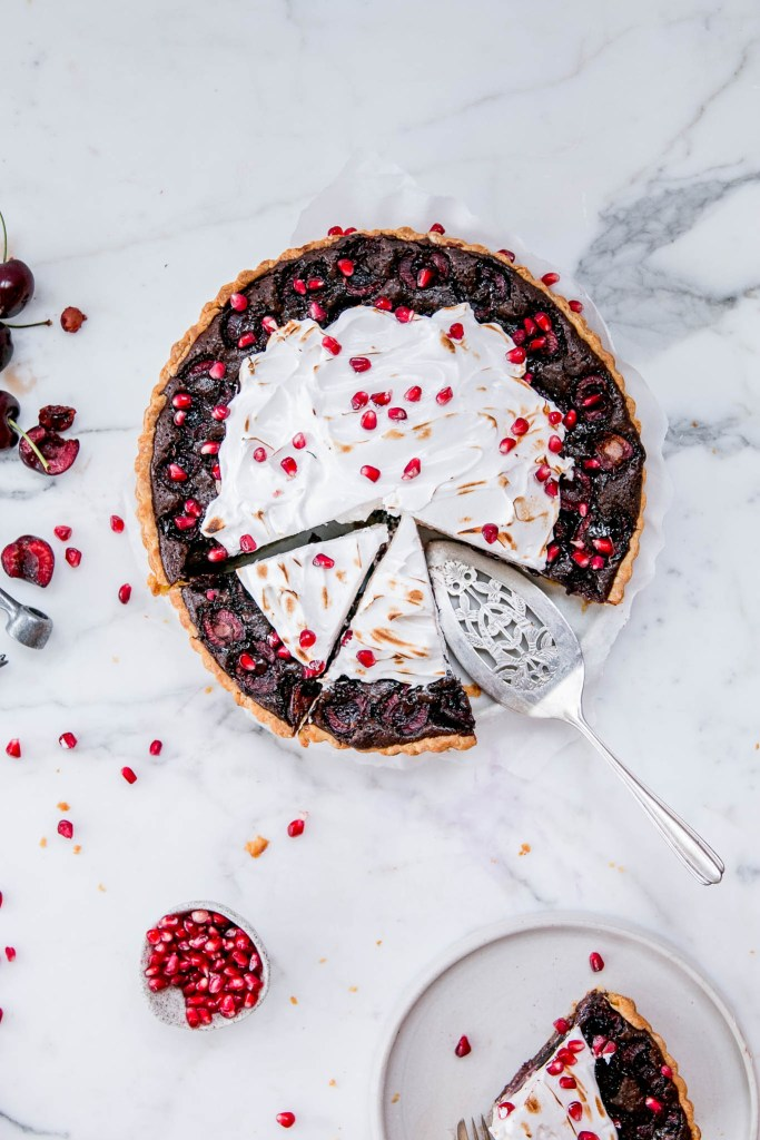 Chocolate, Cherry & Pomegranate Tart - The Brick Kitchen