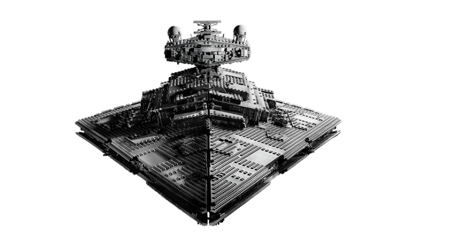 Front view of the LEGO 75252 Star Wars UCS Imperial Star Destroyer: the Devastator