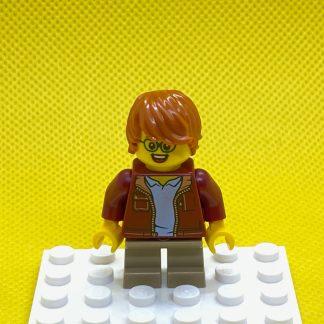 LEGO MinifigureBoy Boy, Glasses, Dark Red Jacket, Dark Orange Hair Tousled with Side Part
