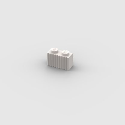 LEGO Part White Brick, Modified 1 x 2 with Flutes / Fluted
