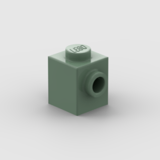 LEGO Part Sand Green Brick, Modified 1 x 1 with Stud on 1 Side