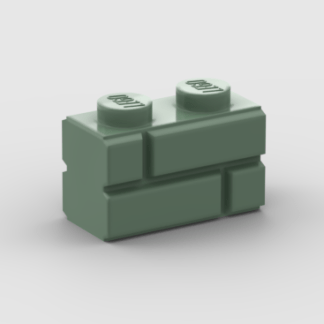 LEGO Part Sand Green Brick, Modified 1 x 2 with Masonry Profile
