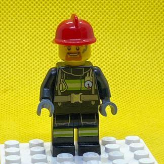 LEGO Fire Man Minifigure - Reflective Stripes with Utility Belt, Red Fire Helmet, Goatee