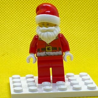 LEGO Santa Claus Minifigure - Red Legs, Fur Lined Jacket with Button, Glasses