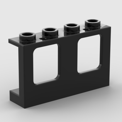 LEGO Part Black Window 1 x 4 x 2 Plane, Single Hole Top and Bottom for Glass