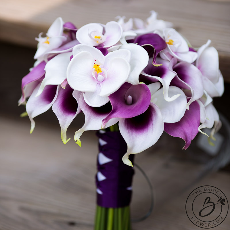 Calla Lily And Orchids Purple Wedding Bouquet The Bridal