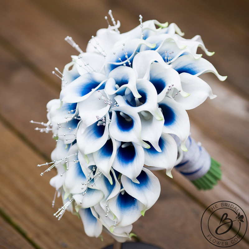 Blue Calla Lily Cascading Bouquet With Silver Pearls The