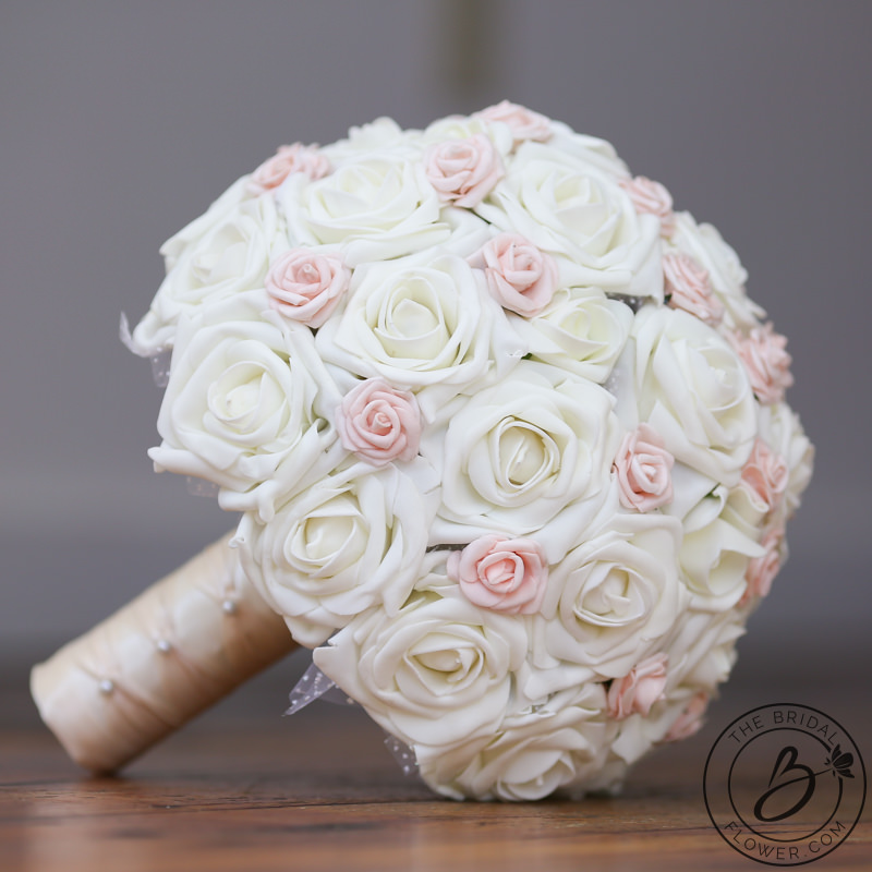Princess Ivory Wedding Bouquet With Blush Pink Accents