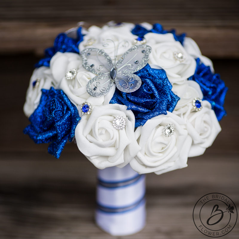 Butterfly Wedding Bouquet With Royal Blue Glitter Roses