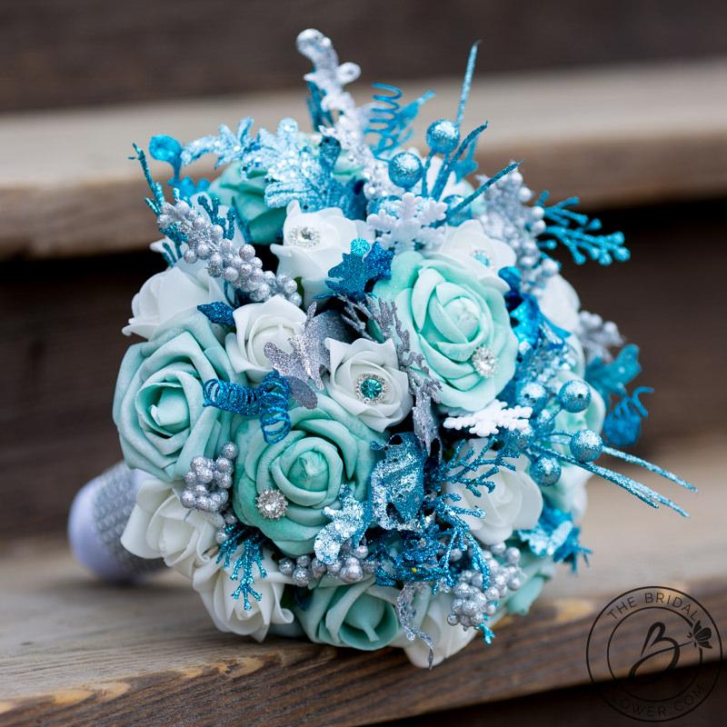 Frozen Inspired Blue And White Winter Wonderland Bouquet